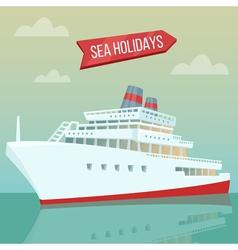 Travel banner sea holidays passenger ship cruise vector