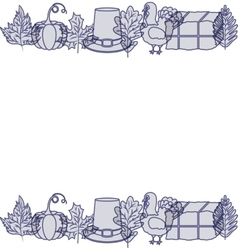 turkey pumpkin leaf hay and hat design vector image