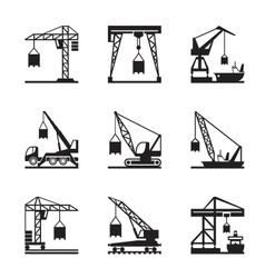 Various types of cranes vector image vector image