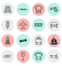 Vehicle icons set with school bus airplane vector