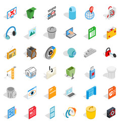working file icons set isometric style vector image