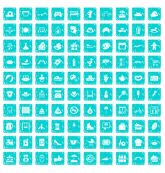 100 mother and child icons set grunge blue vector