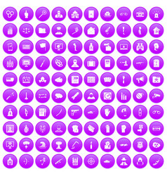 100 violation icons set purple vector