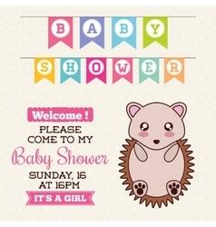 Kawaii hedgehog baby shower design vector