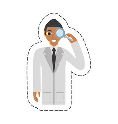 Cartoon doctor staff hospital loupe vector