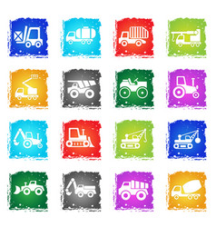 construction transport icon set vector image