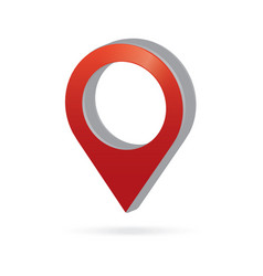 3d metal red map pointer icon marker gps location vector