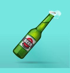 Beer bottle open green glass bottle opened cold vector