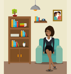 businesswoman working in the office vector image