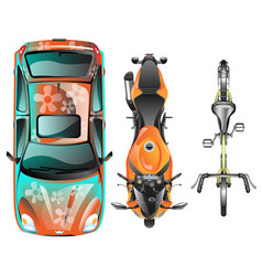 Top view of different transportation vector