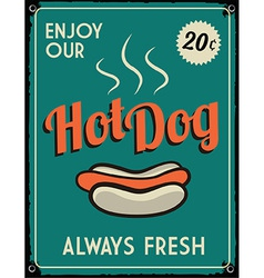 Retro vintage hotdog tin sign vector