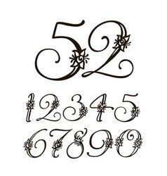Handwritten calligraphic font set of vector