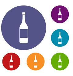 Wine bottle icons set vector