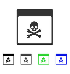Poison skull calendar page flat icon vector