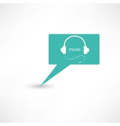 Headphones in a bubble speech vector