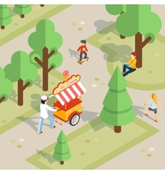 Ice cream seller rolls trolley through the park vector
