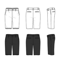 Simple outline drawing of a mens blank shorts vector