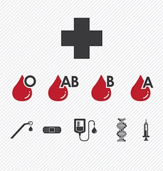 Blood donation group icons set vector