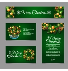 Four green posrcard with Christmas decor vector image