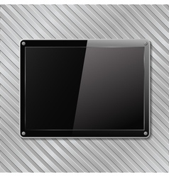black plate on metal background vector image