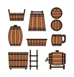 Set barrel mug wooden tub and other barrel vector