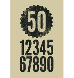 Set of retro numerals with letterpress effect vector