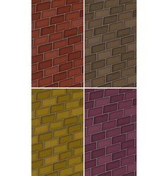 Brick wall in four colors vector
