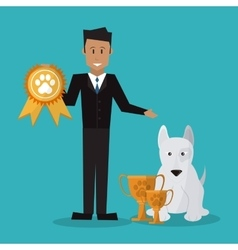 Pet shop with dog and man design vector