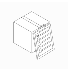 Box with checklist icon isometric 3d style vector