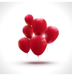 Composition of red ballons greeting and holiday vector
