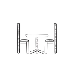Table and chairs sketch icon vector