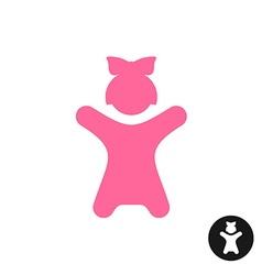 Happy little girl icon pink kid silhouette with vector