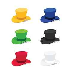 Six colors top hat flat style vector
