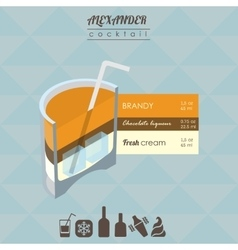 Alexander cocktail flat style isometric vector