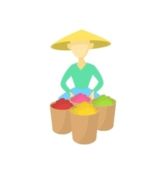 Asian man in a conical hat sells fruit icon vector