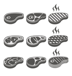 Beef meat steak icons set vector image