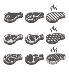 Beef meat steak icons set vector