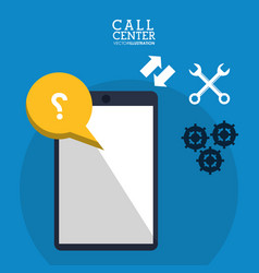 Call center smartphone collaboration help vector
