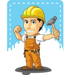 Cartoon of Industrial Construction Worker vector image vector image