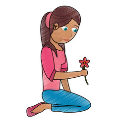 Drawing beautiful mother sitting with flower vector