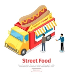 Fast food truck isometric projection style people vector