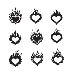 flame hearts icons vector image vector image