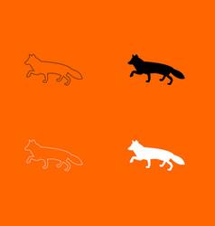 Fox of silhouettes icon vector