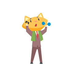 funny businessman fox in a suit talking on the vector image