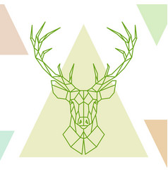 Geometric deer head on colorful triangles vector
