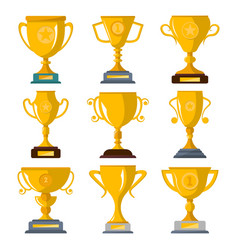 golden champion trophies isolated badge set vector image vector image