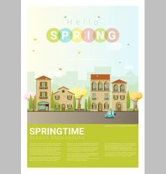Hello spring cityscape background 6 vector