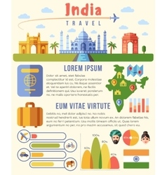 India traveling infographics template with vector image