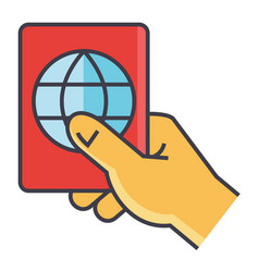 Man holding in hand his passport personal vector