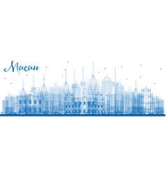 Outline macau china city skyline with blue vector